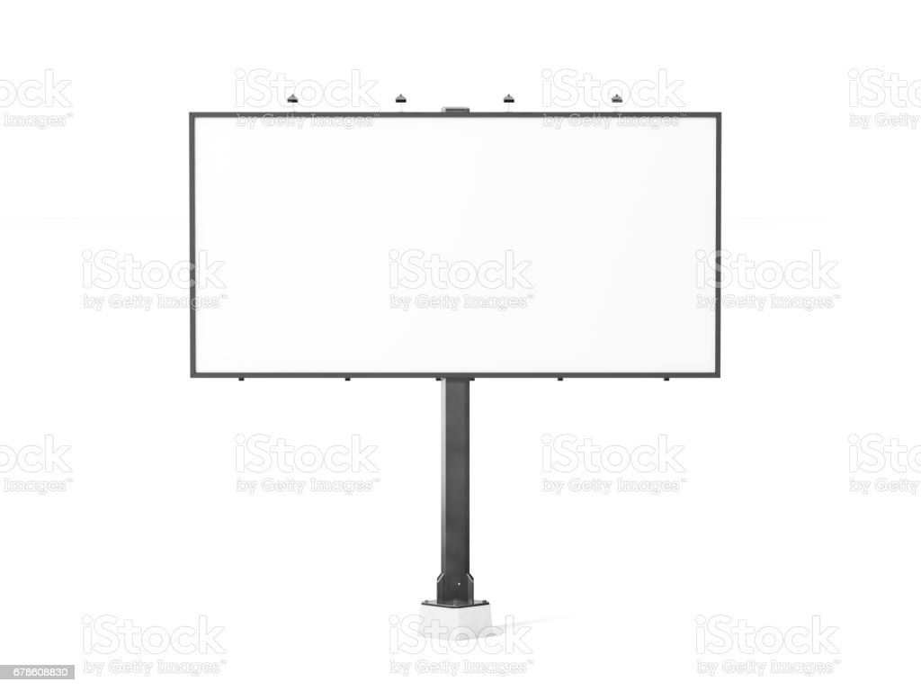 Blank white banner mockup on black city billboard - foto stock