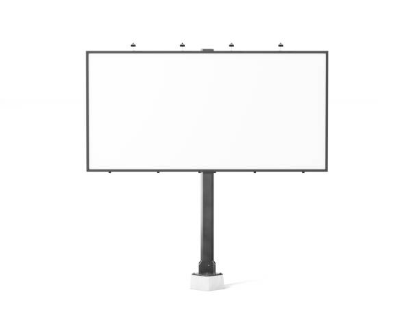 Blank white banner mockup on black city billboard Blank white banner mockup on black city billboard, 3d rendering. Empty bill board mock up isolated. Clear canvas template on sity street sign. Large outdoor poster screen. Big cityboard signage stand. billboard stock pictures, royalty-free photos & images