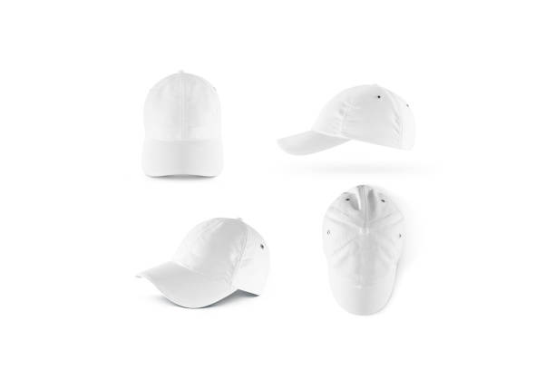 Blank white baseball cap mock up set Blank white baseball cap mock ups set, isolated. Empty sports hat mockup. Clear snapback front, side and top view. Head wearing dress presenation baseball cap stock pictures, royalty-free photos & images
