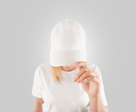 Blank white baseball cap mockup template, wear on women head