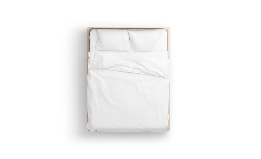 Blank white bed mock up, top view isolated,