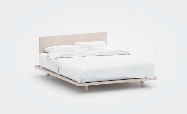 lege witte bed met kussens mockup, zijaanzicht, geïsoleerd, - sleeping illustration stockfoto's en -beelden