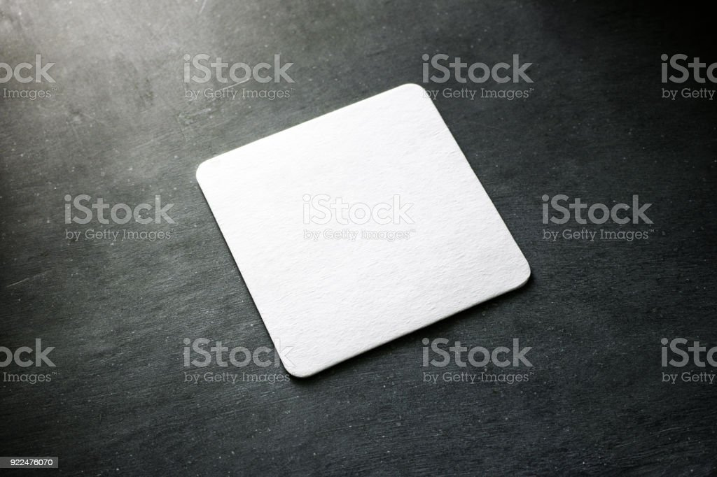 Blank white beer coasters mockup, clipping path stock photo