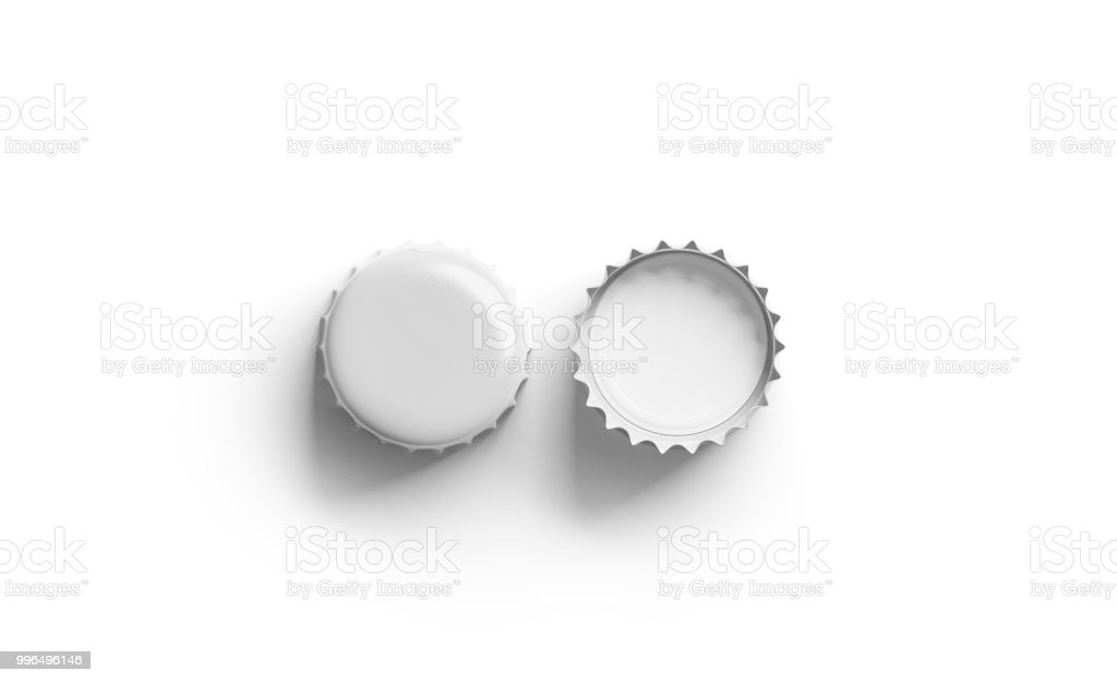 Blank white beer lid mock up, front and back side stock photo