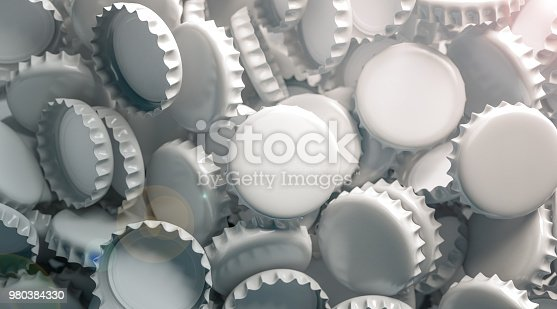 istock Blank white beer lid stack mock up, top view 980384330