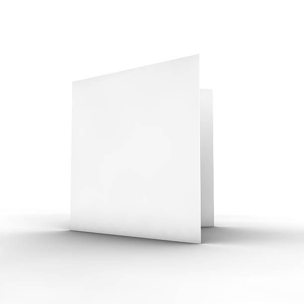 Blank white bifold brochure on white Please check out the rest of my porfolio. Thank you! square composition stock pictures, royalty-free photos & images