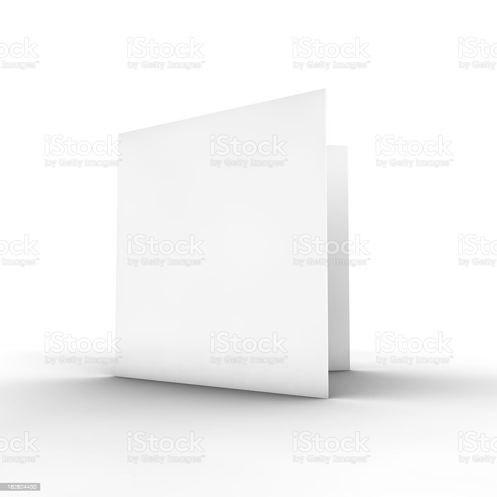 Blank white bifold brochure on white stock photo