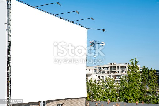 158172107 istock photo Blank white billboard for advertisement on the wall of industrial building 1224662202