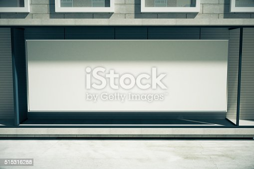 istock Blank white billboard in the window of the building 515316288