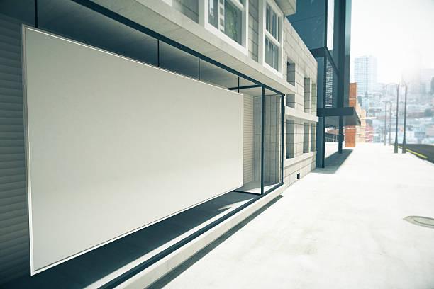 outdoor em branco branco em vez vitrine no edifício, de maquetes - facade shop 3d - fotografias e filmes do acervo