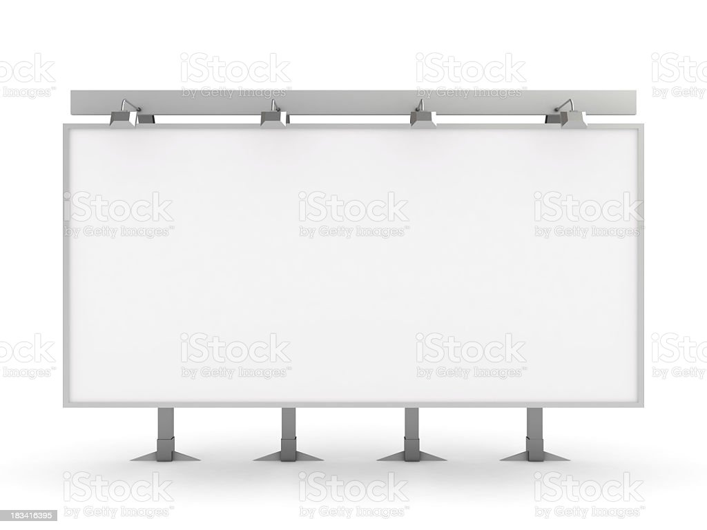 Blank white billboard over a white background stock photo
