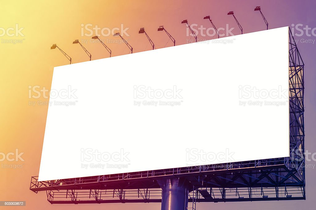 Blank White Billboard Over Evening Sky For Your Advertisement Background Royalty Free Stock Photo