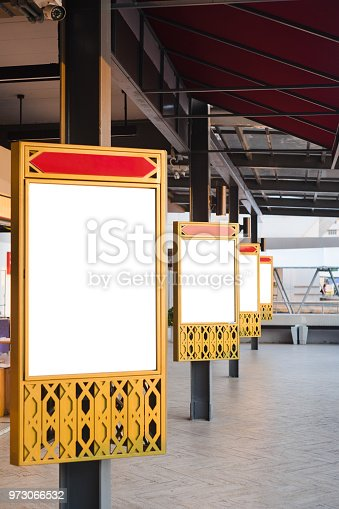 istock Blank white billboard stand with copy space for advertisement text image in Thailand style. 973066532