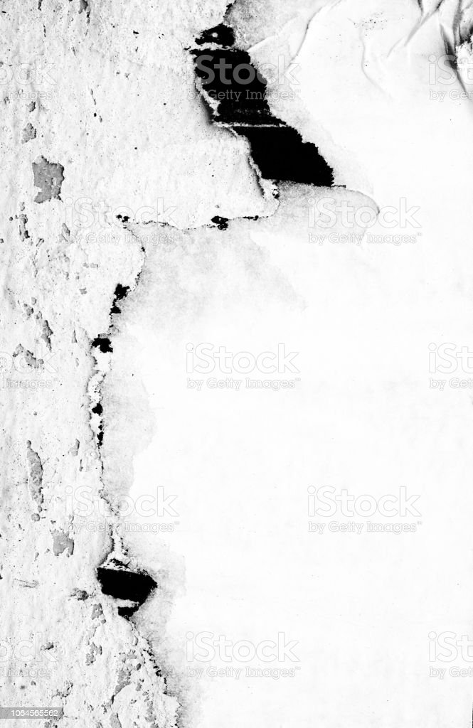 Blank white black old ripped torn paper crumpled creased posters grunge textures backdrop backgrounds placard stock photo