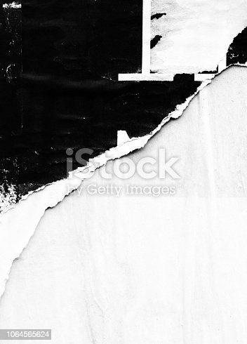 1087065964 istock photo Blank white black old ripped torn paper crumpled creased posters grunge textures backdrop backgrounds placard 1064565624