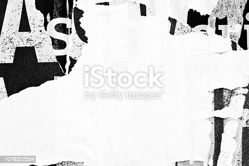 1087065964 istock photo Blank white black old ripped torn paper crumpled creased posters grunge textures backdrop backgrounds placard 1076322354