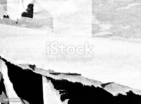1087065964 istock photo Blank white black old ripped torn paper crumpled creased posters grunge textures backdrop backgrounds placard 1087065936