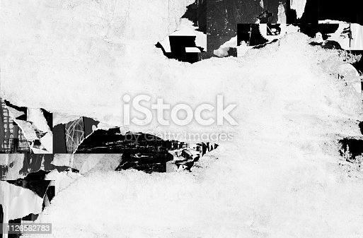 1087065964 istock photo Blank white black old ripped torn paper crumpled creased posters grunge textures backdrop backgrounds placard 1126562783