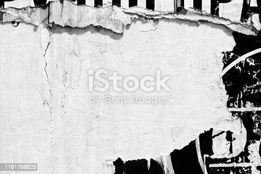 1087065964 istock photo Blank white black old ripped torn paper crumpled creased posters grunge textures backdrop backgrounds placard - Stock image 1161186823