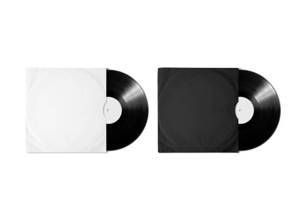 Blank white black vinyl album cover sleeve mockup, clipping path Blank white and black vinyl album cover sleeve mockup, isolated, clipping path. Gramophone music record clear surface mock up. Paper sound shellac disc label template. Cardboard vinyl disk package covering stock pictures, royalty-free photos & images