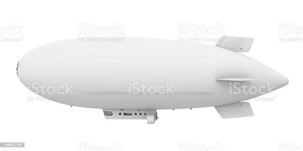 Blank white blimp isolated on white background stock photo