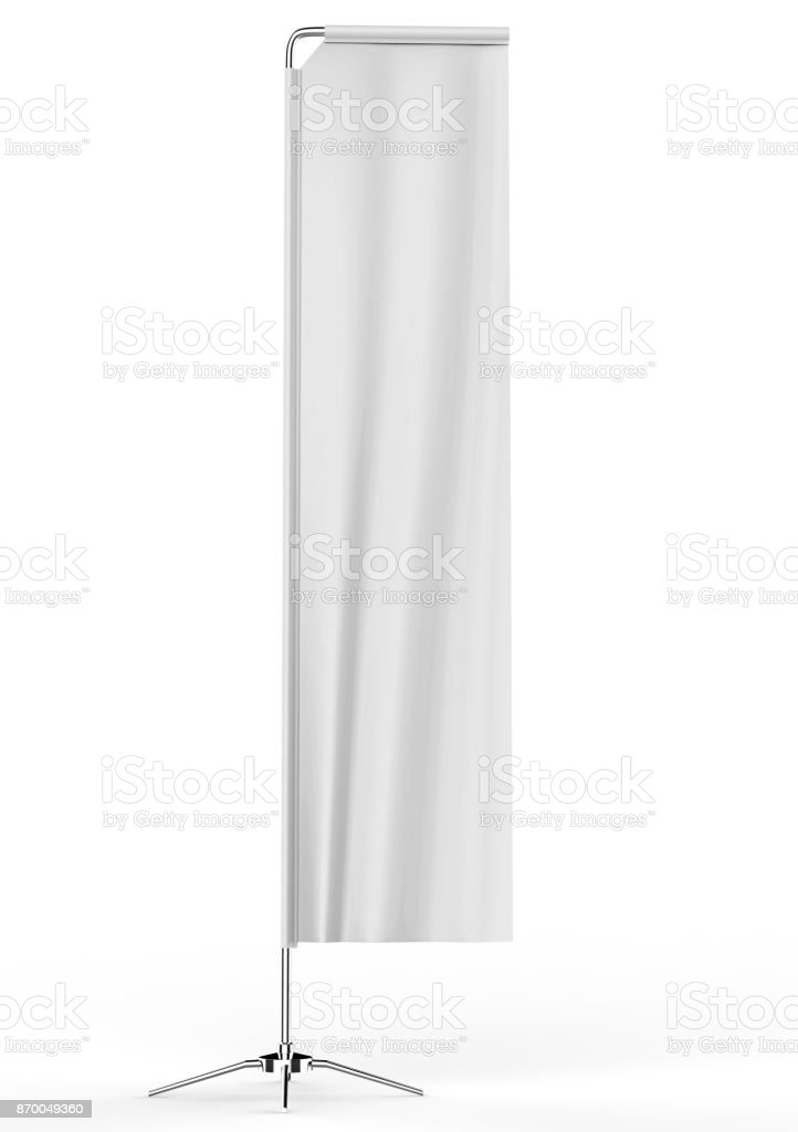Blank white block rectangular feather flag outdoor Retail Visual Merchandising advertising beach stand promotional flag banner or vertical banner mock up template on white background. 3d illustration. stock photo