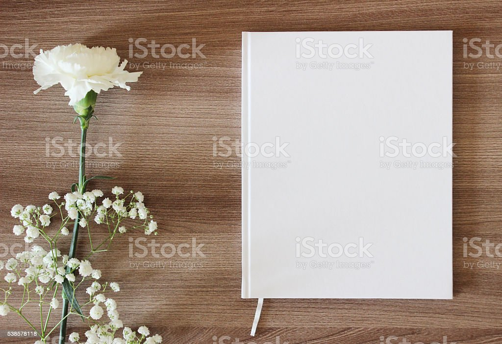 Blank white book, journal, wedding guestbook, notebook mockup. stock photo