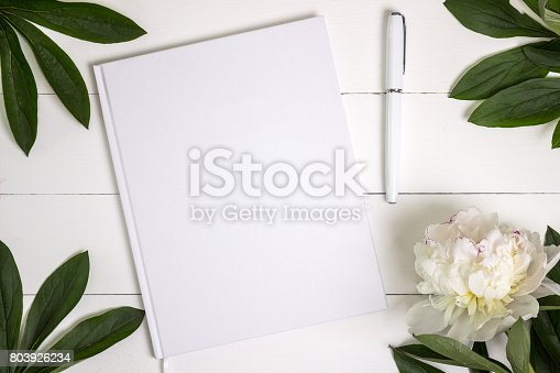 istock Blank white book, journal, wedding guestbook, notebook mockup. 803926234