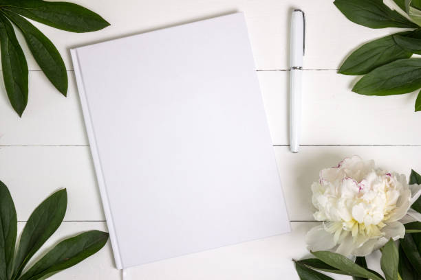 Blank white book, journal, wedding guestbook, notebook mockup. - foto stock