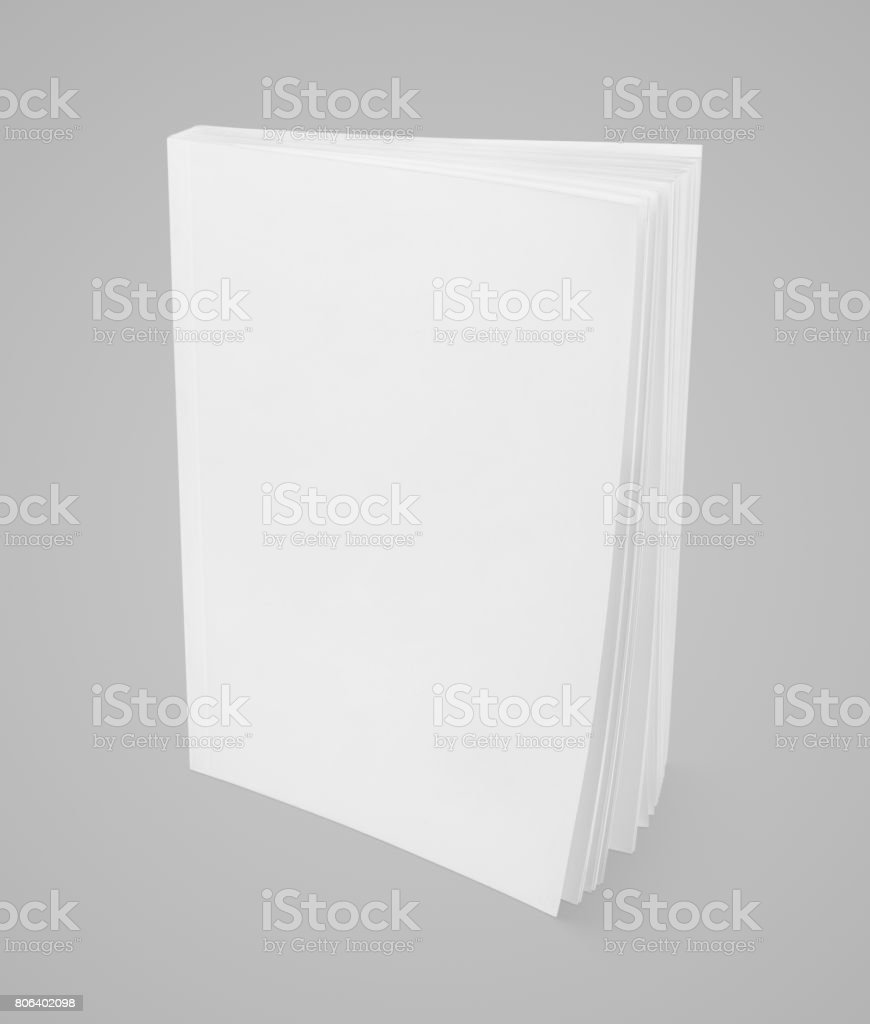 Blank white book on gray stock photo