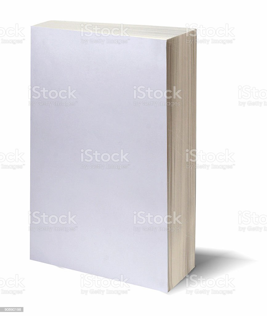 Blank white book w/path stock photo