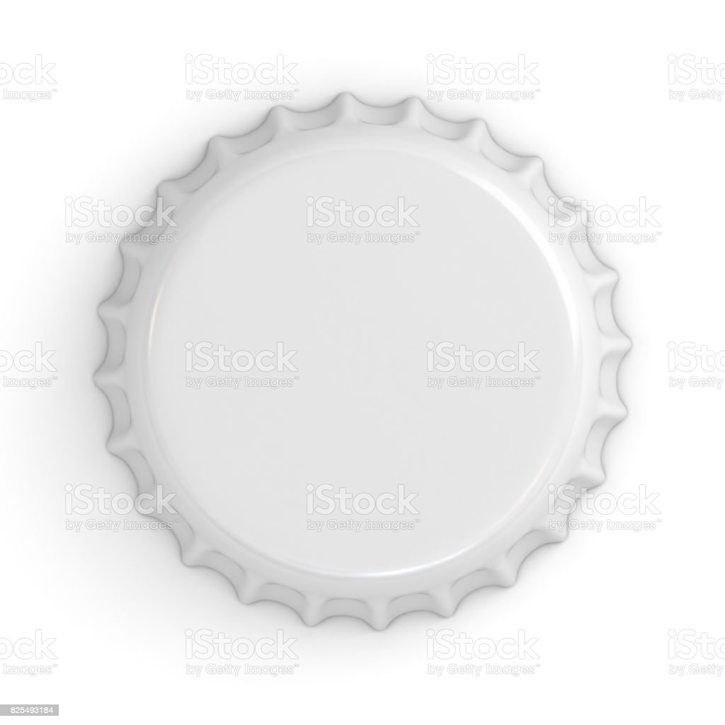 Blank white bottle cap isolated on white background with shadow . 3D rendering stock photo