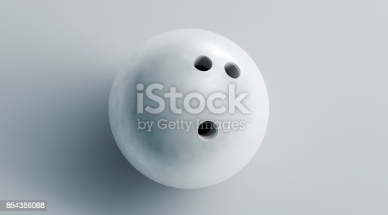 istock Blank white bowling ball mock up, top view, 3d rendering 854386068