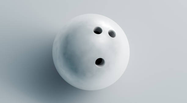 Blank white bowling ball mock up, top view, 3d rendering stock photo