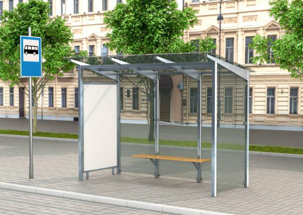 lege witte doos indeling verticale verlichtingssterkte bij de bushalte. zijaanzicht. 3d illustratie - bushalte stockfoto's en -beelden