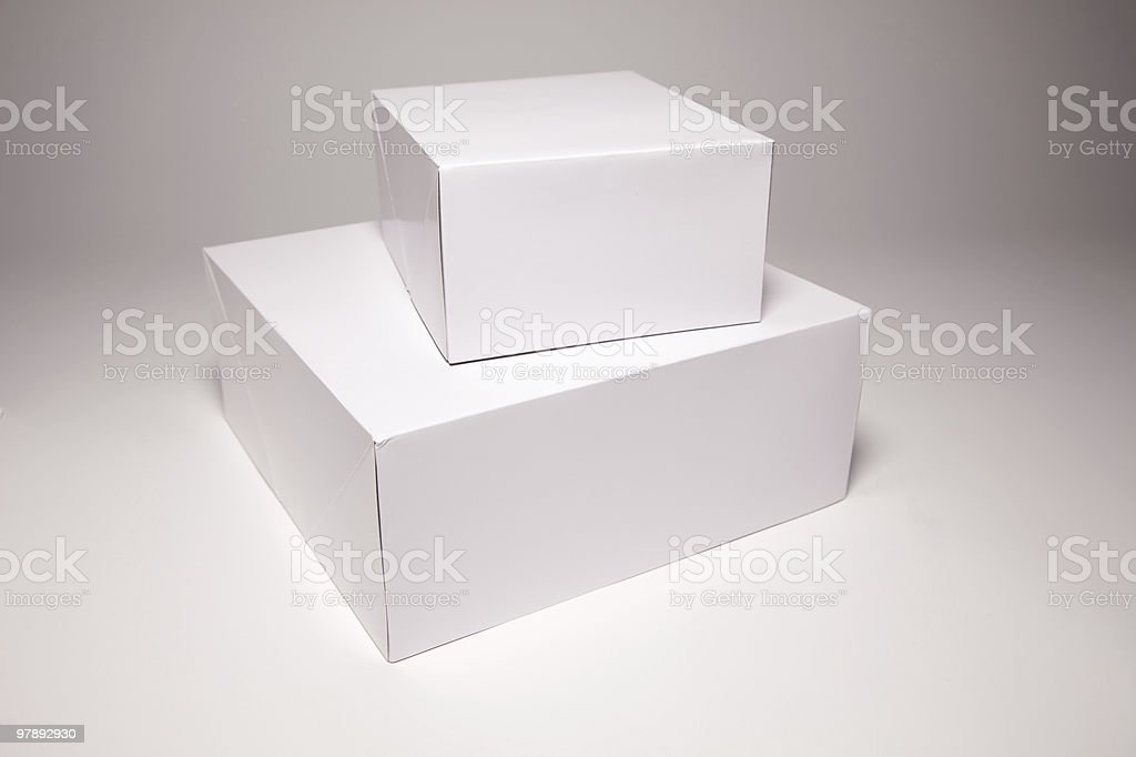 Blank White Box on Grey royalty-free stock photo