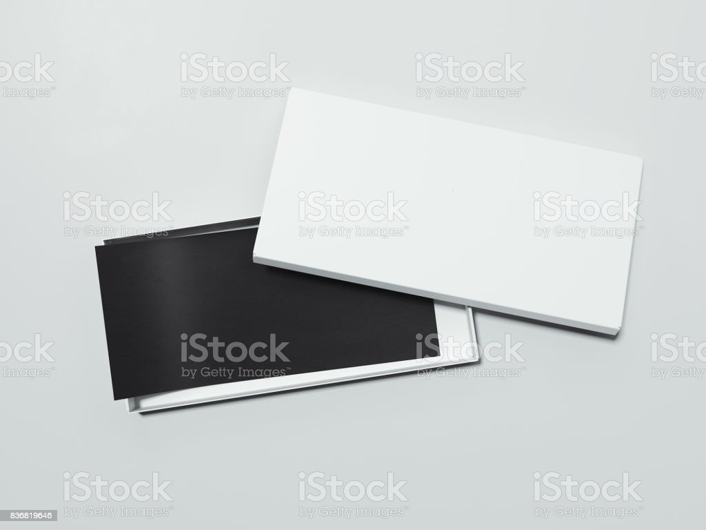 Blank White box with black flyer. 3d rendering stock photo