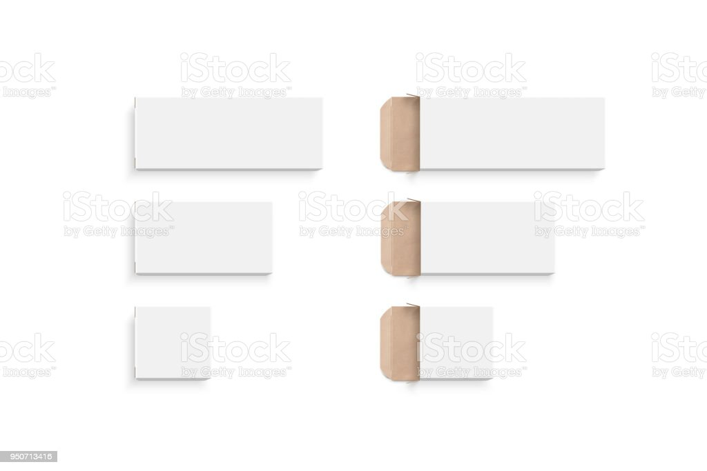 Blank white boxes different size set, isolated stock photo