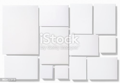istock Blank white boxes isolated on white background 963402918