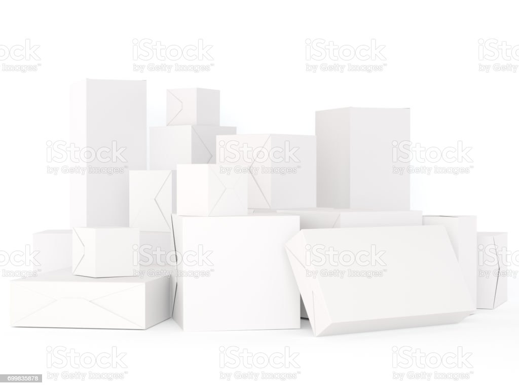 Blank white boxes stock photo