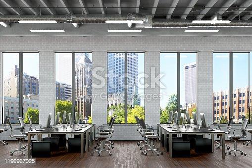 Office interior mock up. 3d render.