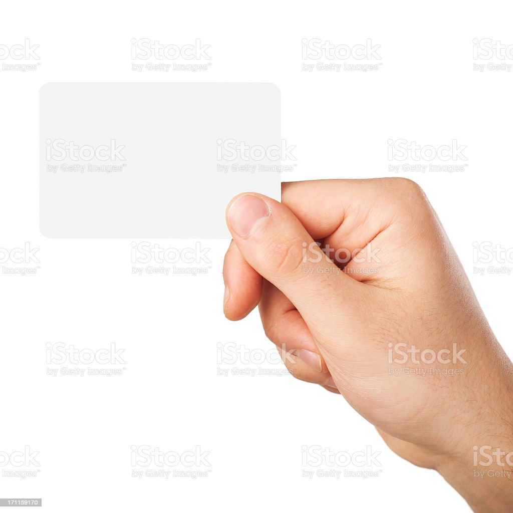 A blank white business card being held  stock photo