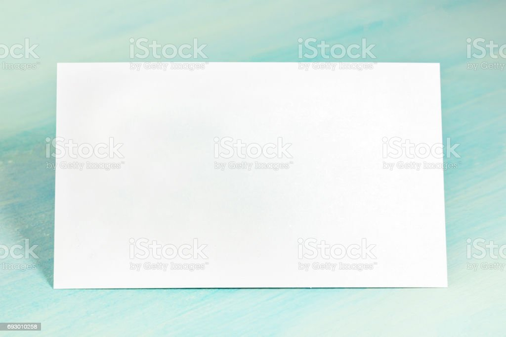 Blank White Business Card On Teal Blue Background Stock Photo & More ...