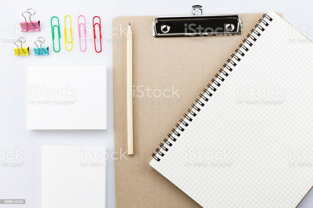 blank white business paper,pencil on white background. royalty-free stock photo