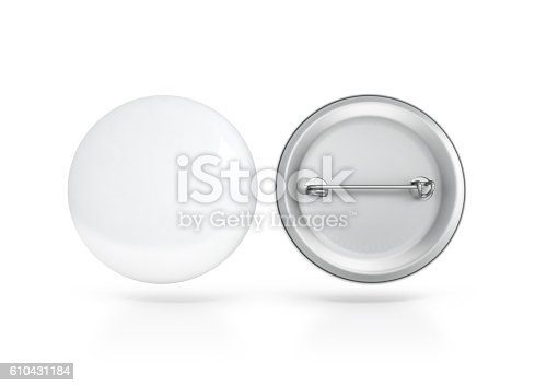istock Blank white button badge mockup, front and back side, clipping 610431184