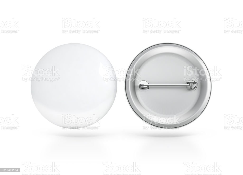 Blank white button badge mockup, front and back side, clipping stock photo