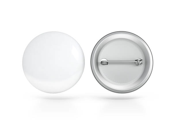 Blank white button badge mockup, front and back side, clipping - foto de stock