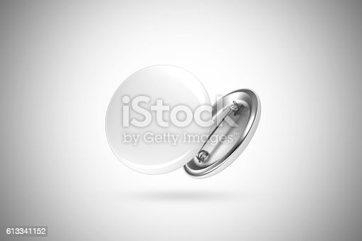 istock Blank white button badge mockup, isolated, clipping path 613341152