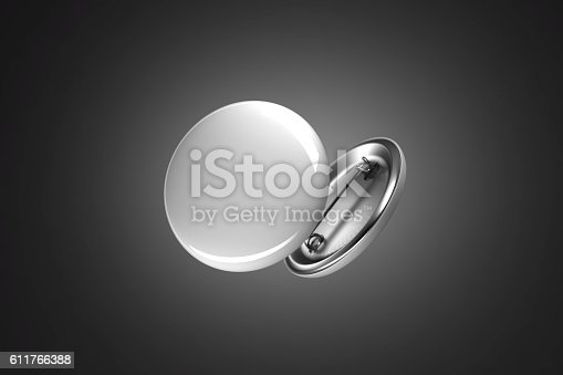 istock Blank white button badge mockup, isolated on black 611766388