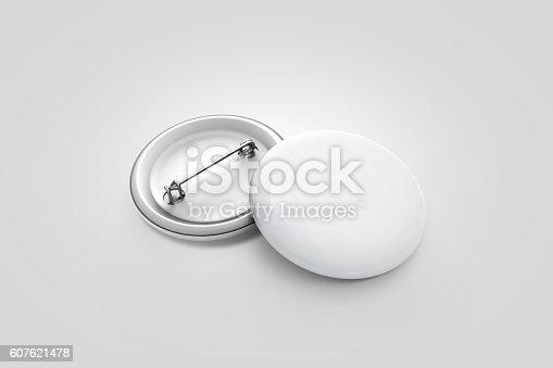 istock Blank white button badge stack mockup, isolated on grey, 607621478